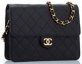 "Luxury Accessories:Bags, Chanel Black Quilted Lambskin Leather Small Flap Bag with GoldHardware . Very Good to Excellent Condition . 8"" Width..."