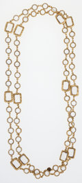 "Luxury Accessories:Accessories, Chanel Clear Crystal & Gold Sautior Necklace. Very GoodCondition. 60"" Length. ..."
