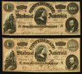 Confederate Notes:1864 Issues, T65 $100 1864 PF-3 Cr. 494, Two Examples.. ... (Total: 2 notes)