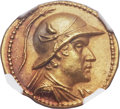 Ancients:Greek, Ancients: GRECO-BACTRIAN KINGDOM. Eucratides I the Great (ca. 171-145 BC). AV stater (20mm, 8.47 gm, 11h)....