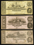 Confederate Notes:1862 Issues, T51 $20 1862;. T52 $10 1862;. T53 $5 1862.. ... (Total: 3 notes)