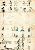Books:Original Art, [Original Art]. [Cartoons]. Artist Unknown. Group of Four Hand-Drawn Amateur Comic Strips in the Style of Mickey Mouse...