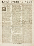 Books:Early Printing, [Early Printing]. [Periodicals]. Single Issue Lloyd's EveningPost, Vol. XXIX, No. 2205. Dated August 19 - 21, 1...