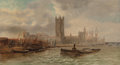 Fine Art - Painting, European:Antique  (Pre 1900), J. Lewis (British, 19th Century). Scene on the Thames River,London. Oil on canvas. 18 x 32 inches (45.7 x 81.3 cm). Sig...