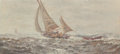 Fine Art - Painting, American:Antique  (Pre 1900), James Gale Tyler (American, 1855-1931). Sailboat at Sea. Oilon canvas. 14-1/4 x 30 inches (36.2 x 76.2 cm). Signed lowe...