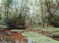 Fine Art - Painting, European:Contemporary   (1950 to present)  , Willem Sternberg De Beer (South African, b. 1941). Deer inForest. Oil on canvas. 18 x 23-3/4 inches (45.7 x 60.3 cm).S...