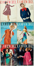 Books:Periodicals, [Periodical]. Group of Six L'Officiel de la Couture et de laMode de Paris Issues. Paris: [L'Officiel], 1965-196... (Total:6 Items)