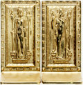 Books:Fore-edge Paintings, [Bookends]. Pair of Matching Brass Bookends Depicting Humanitas andIntellectus (the Doors to the Library of Congress). Virg... (Total:2 Items)