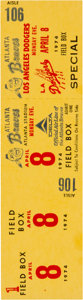 Baseball Collectibles:Tickets, 1974 Hank Aaron 715th Home Run Game Full Ticket....