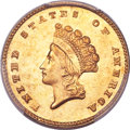 Gold Dollars, 1855-D G$1 MS64 PCGS Secure. CAC. Variety 7-I....