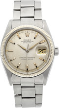 Timepieces:Wristwatch, Rolex Ref. 1601 Steel Oyster Perpetual Datejust With Papers, circa1961. ...