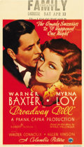 "Movie Posters:Drama, Broadway Bill (Columbia, 1934). Midget Window Card (8"" X 14""). ..."