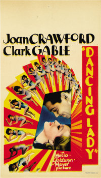 "Dancing Lady (MGM, 1933). Midget Window Card (8"" X 14"")"