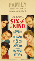 "Movie Posters:Comedy, Six of a Kind (Paramount, 1934). Midget Window Card (8"" X 14""). ..."