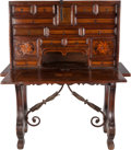 Furniture : Continental, An Italian Inlaid Vargueno Walnut Chest on Trestle Table, 17thcentury. 55 inches high x 45-1/2 inches wide (139.7 x 115.6 c...(Total: 2 Items)