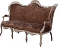 Furniture : Continental, A Moorish Upholstered Mother-of-Pearl and Silver Inlaid Settee,19th century. 44 inches high x 68 inches wide (111.8 x 172.7...