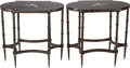 Furniture : Continental, A Pair of Patinated Bronze Tables with Pietra Dura Tops. 27-1/2inches high x 29 inches wide (69.9 x 73.7 cm). ... (Total: 2 Items)
