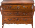 Furniture : French, A French Provincial Walnut Three-Drawer Commode, 18th century.34-1/2 inches high x 43-1/2 inches wide x 22 inches deep (87....