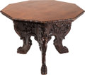 Furniture : Continental, An Italian Renaissance-Style Carved Mahogany Octagonal CenterTable, 19th century. 30 inches high x 43 inches diameter (76.2...