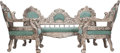 Furniture : Continental, A Three Piece Italian Upholstered and Silvered Wood Salon Suite,20th century. 41-1/2 inches high x 78 inches wide (105.4 x ...(Total: 3 Items)