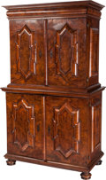 Furniture : Continental, A German Burled Walnut Cabinet with Hidden Drawer, 18th century. 76inches high x 45-1/2 inches wide x 26 inches deep (193.0...