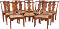 Furniture : American, Twelve Chippendale-Style Upholstered Mahogany Dining Chairs, 20thcentury. 39-1/2 inches high x 26-1/2 inches wide x 18-1/2 ...(Total: 12 Items)