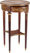 Furniture : French, A Napoleon III Gilt Bronze Mounted Mahogany Single-Drawer SideTable with Marble Top, circa 1865. 28-5/8 inches high x 17-1/...