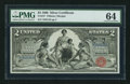 Large Size:Silver Certificates, Fr. 247 $2 1896 Silver Certificate PMG Choice Uncirculated 64.. ...