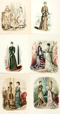 Books:Prints & Leaves, [Fashion History]. [Costume]. Large Lot of Nineteenth-Century ColorPlates Depicting Contemporary Modes of Fashion, Many Hand-...