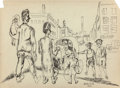 Fine Art - Work on Paper:Drawing, David Burliuk (Ukrainian/American, 1882-1967). 'After 10 years,they met one another...', 1930. Ink on paper. 11 x 15 in...