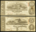 Confederate Notes:Group Lots, T59 $10 1863 PF-13 Cr. 349.. T60 $5 1863 PF-4 Cr. 450.. ... (Total:2 notes)