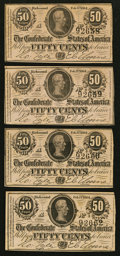 Confederate Notes:1864 Issues, T72 50 Cents 1864, Four Examples.. ... (Total: 4 notes)