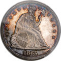 Proof Seated Dollars, 1865 $1 PR63 Cameo PCGS....