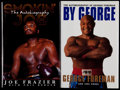 Boxing Collectibles:Autographs, Joe Frazier and George Foreman Signed Hardcover Books (2)....
