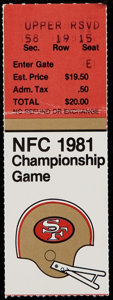"""Football Collectibles:Tickets, 1981 NFC Championship Game """"The Catch"""" Ticket Stub...."""