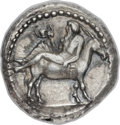 Ancients:Greek, Ancients: MACEDON. Mende. Ca. 423 BC. AR tetradrachm (27mm, 16.96gm, 8h). ...