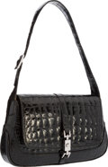 "Luxury Accessories:Accessories, Gucci Shiny Black Crocodile Shoulder Bag with Silver Hardware.10"" Width x 6"" Height x 1.5"" Depth, 8.5"" Shoulder Drop.Ver..."