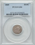 Early Half Dimes, 1805 H10C V-1, LM-1, R.4, Good 4 PCGS....