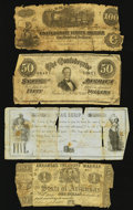 Confederate Notes:1862 Issues, A Well Traveled Group of Civil War Era Notes.. ... (Total: 4 notes)