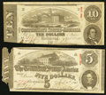 Confederate Notes:Group Lots, T59 $10 1863 PF-12 Cr. 440. T60 $5 1863 PF-4 Cr. 450. ... (Total: 2 notes)