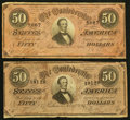 Confederate Notes:1864 Issues, T66 $50 1864 PF-1 Cr. 495 (2).. ... (Total: 2 notes)