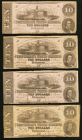 Confederate Notes:1862 Issues, T52 $10 1862 PF-3 Cr. 371; PF-16 Cr. 374; PF-21 Cr. 375 (2).. ...(Total: 4 notes)