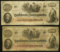 Confederate Notes:1862 Issues, T41 $100 1862 PF-15 Cr. 316 (2). ... (Total: 2 notes)