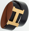 """Luxury Accessories:Accessories, Hermes 70cm Black Calf Box Leather H Belt with Gold Hardware.Good to Very Good Condition. 1"""" Width x 31.5"""" Length...."""