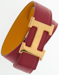 """Luxury Accessories:Accessories, Hermes 65cm Rouge Vif & Jaune Courchevel Leather Reversible HBelt with Gold Hardware. Very Good Condition. 1"""" Widthx..."""