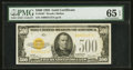 Small Size:Gold Certificates, Fr. 2407 $500 1928 Gold Certificate. PMG Gem Uncirculated 65 EPQ.. ...