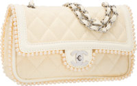 Chanel Beige Quilted Canvas Medium Double Flap Bag with Glass Pearls & Hardware Very Good Condition