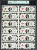 Small Size:Legal Tender Notes, Fr. 1501 $2 1928 Legal Tender Notes. Uncut Sheet of Twelve. PCGS Choice About New 55.. ...