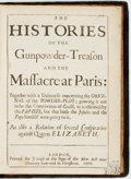 Books:World History, [Jacques-Auguste de Thou]. The Histories of theGunpowder-Treason and the Massacre at Paris... London: J.Leigh, 167...
