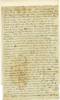 "Military & Patriotic:Revolutionary War, Francis Rotch Autograph Letter Signed ""F Rotch"". Two pages,7.5"" x 12.25"", Surry, August 7, 1816. Francis Rotch was the ..."